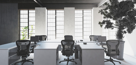 Empty white desks with chairs in modern minimalist interior office against big bright windows and huge indoor tree plant. 3d Rendering.