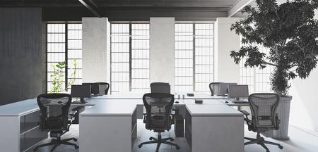 silla: escritorios blancos vacíos con sillas en la oficina moderna interior minimalista contra las grandes ventanas luminosas y enorme árbol planta de interior. Representación 3D. Foto de archivo