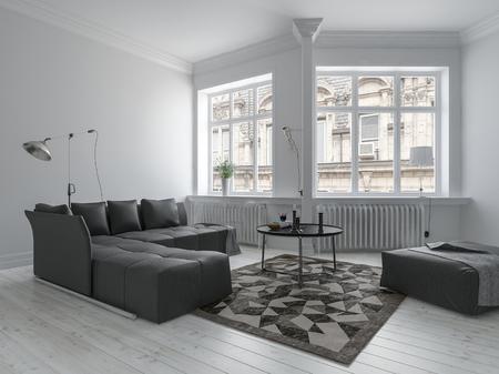 Luminoso soggiorno in un design minimalista con pareti bianche, mobili scuri e pareti ad angolo con grandi finestre. rendering 3d.