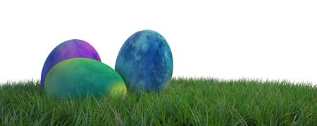 Three colorful hand dyed Easter eggs on green grass against a white background with copy space in panoramic banner format. 3d Rendering.