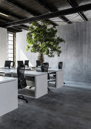 styled interior: View of modern minimalist interior office with several workplaces and high green tree plant against concrete wall, copy space. 3d Rendering.