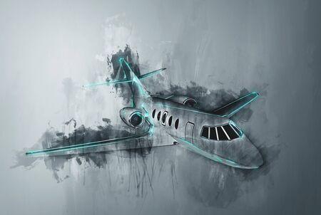 Grunge Aquarellmalerei einer Corporate Jet mit Pinselstrichen auf einem grauen Hintergrund mit Farbverlauf mit grünen Akzenten an den Rumpf tropft Standard-Bild - 70446830