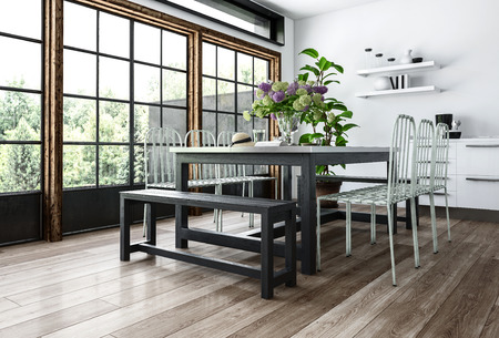 Modern dining room in minimalist interior with chairs and benches near table with flowers, big windows and white walls. 3d rendering.