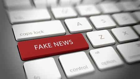 컴퓨터 키보드의 FAKE NEWS 버튼 또는 키. 3D 렌더링 스톡 콘텐츠