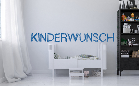 Baby crib and blue german sign Kinderwunsch (wishing for a baby) over white wall of minimalist design kids room. Childrens needs concept. 3d Rendering.