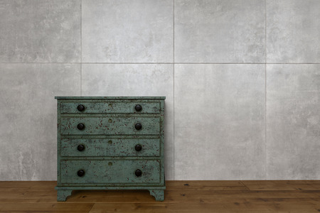 chest wall: Antique wooden furniture against wall of marble blocks and on hardwood flooring