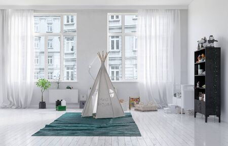 wood floor: Small tepee in a monochromatic white neat kids playroom interior with large windows overlooking urban apartments and a painted wood floor. 3d Rendering.