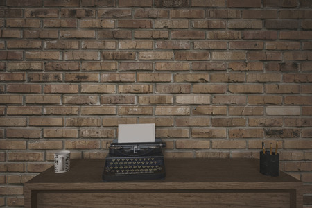 copy machine: Old manual typewriter on a writing table in front of a face brick wall with a mug of coffee and side vignette, 3d render