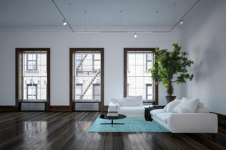Minimalist Modern Urban Living Room Interior With Black And White ...