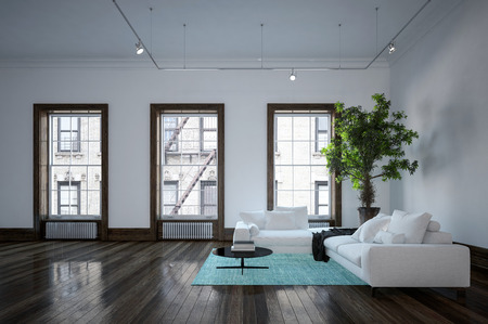 Minimalist Modern Urban Living Room Interior With Black And White Decor,  Corner Sofas On An