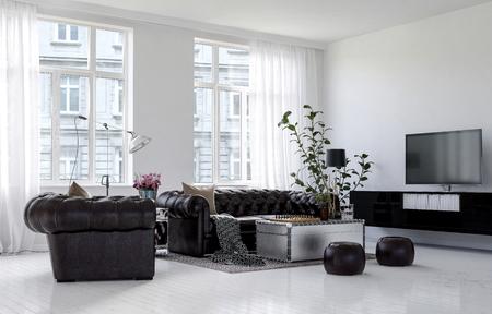 흰 벽과 바닥, 가죽 소파, 실내 식물과 거대한 밝은 창문이있는 미니멀리스트 인테리어 디자인의 도시 아파트 건물에있는 넓은 거실. 3d 렌더링입니다.