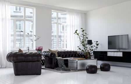 Spacious living room in city apartment building in minimalist interior design with white walls and floor, leather couch and poufs with indoor plant and huge bright windows. 3d Rendering.