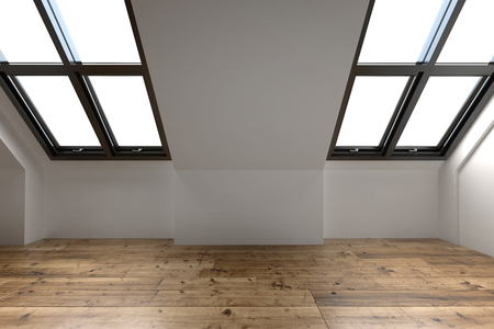 Newly converted attic space interior with two sloping windows in the pitch of the roof, white walls and a wooden floor, 3d render