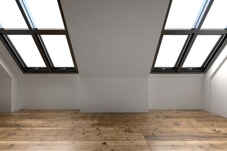 Recientemente renovado ático espacio interior con dos ventanas inclinadas en el tono de la azotea, paredes blancas y un piso de madera, procesamiento 3d