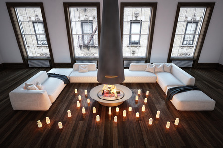 Romantic urban apartment living room interior with couches grouped around burning candles on a wooden floor with central blazing fire, high angle 3d Rendering. Banque d'images - 128868365