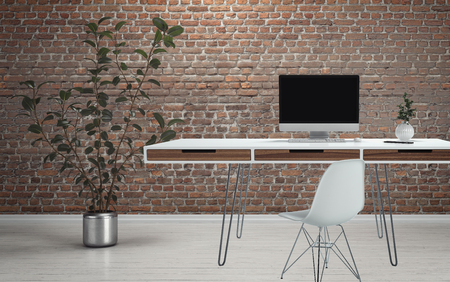 chair wooden: Computer desk on thin wire legs with chair and plant on white wooden floor against brick wall background Stock Photo