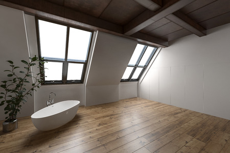 Large attic bathroom with minimalist decor and lone tub beside tall house plant Stock Photo