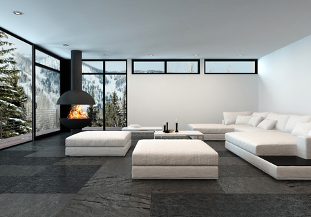 modular home: Large mountain view apartment with fireplace and all white minimalistic furnishings Stock Photo