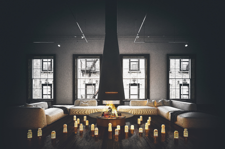 couches: Fireplace with hanging chimney in spacious living room with white couches and huge windows, with candles all over wooden floor. Darkened image with vignette effect. 3d Rendering.