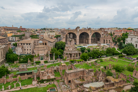 palatine: The ancient ruins of the Roman Forum, Italy, as seen from the Palatine Hill Editorial