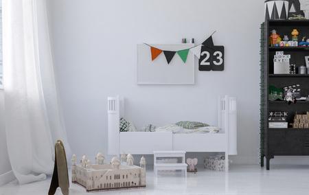 Spielzeug boxen in den hellen kinderraum in minimalistische