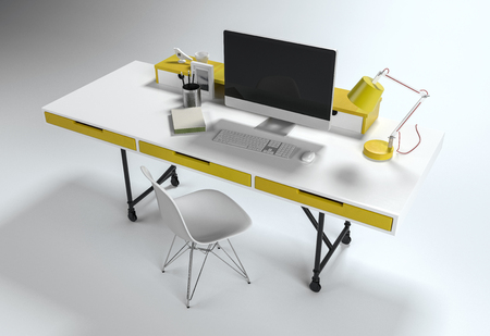 electronic: From above view of office workplace white desk with yellow drawers and lamp, computer and chair, isolated on white background Stock Photo