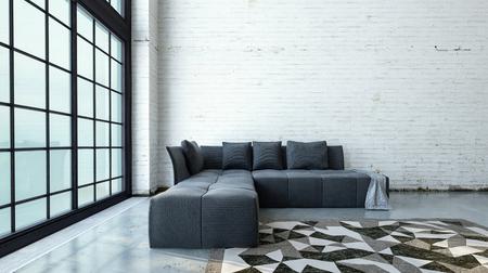Minimalistisches Modernes Loft Wohnzimmer Interieur Mit Riesigen Fenstern  Und Einem Modularen Grauen Sofa Auf