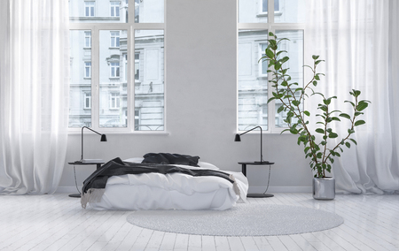 Large spacious white monochrome bedroom interior in an urban apartment with a double bed, houseplant and large windows and curtains and a painted wooden floor. 3d Rendering. Stock fotó