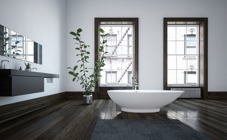 wooden floors: Elegant spacious modern bathroom interior with freestanding white boat-shaped bathtub on a dark wood floor, wall-mounted vanities and two bright windows. 3d Rendering.