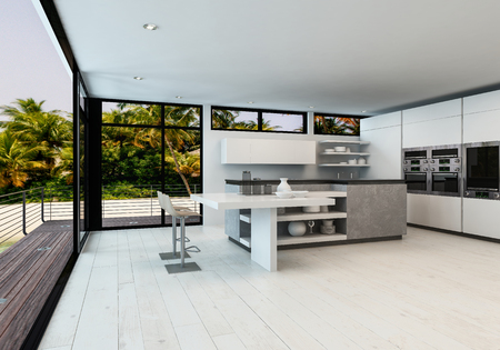 overlooking: Large white open plan minimalist living room with kitchen in a tropical home with outdoor deck overlooking palm trees and the ocean, 3d render