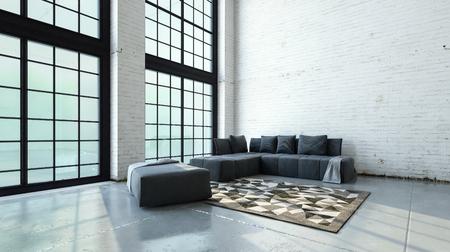 Espaçosa sala de estar de volume duplo interior com sofás minimalistas e tapete no canto em frente de grandes janelas do chão ao teto. Renderização 3D. Foto de archivo - 73206152