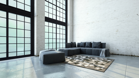 interior wall: Spacious double volume living room interior with minimalist sofas and rug in the corner in front of large floor to ceiling windows. 3d Rendering.