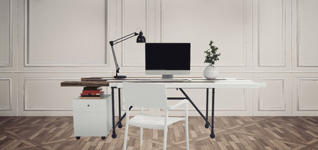 chair wooden: Workplace with computer, table lamp and plant. White desk and chair against white wooden wall on parquet floor
