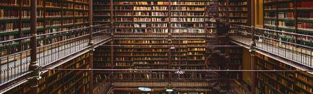 オランダ アムステルダム、アムステルダム国立美術館、図書館、多くの偉大な公共図書館内部全景
