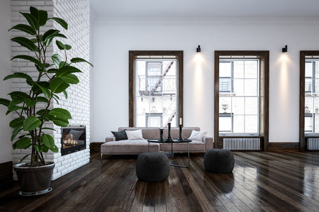 contemporary living room: Spacious living room in minimalist interior design with green indoor plant next to fireplace, bright windows, white walls with lighting and ceiling and dark wooden floor. 3d Rendering.