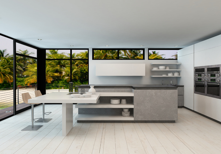 Open plan modern kitchen in a tropical villa with large view windows overlooking palm trees and a wooden exterior deck, 3d render