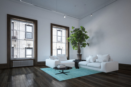 Spacious Living Room In City Apartment In Minimalist Interior Design With  White Couch, Dark Floor