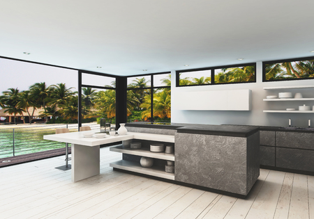 overlooking: Stylish designer kitchen interior with white hardwood floor and wrap around view windows in a tropical villa overlooking a calm bay and palm trees, 3d render