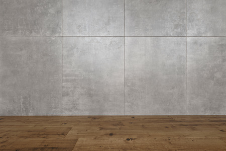 Architectural background of mottled grey tiles on the wall of a room with a hardwood parquet floor, close up 3d rendered view