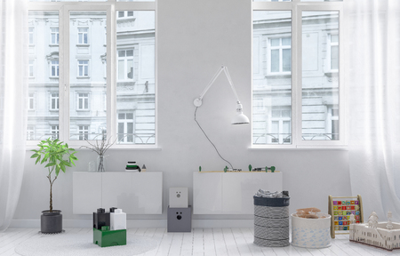 white interior: Toy boxes in bright kids room in white minimalist interior design, with huge windows and city buildings outside. 3d Rendering.