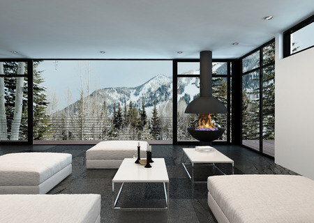 overlooking: Cozy stylish living room interior in a house in the mountains overlooking snowy peaks and pine trees through large view windows, 3d render