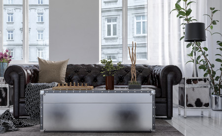 contemporary living room: Chest style coffee table in front of Chesterfield couch backed by high bright windows overlooking city buildings , low angle view. 3d rendering. Stock Photo