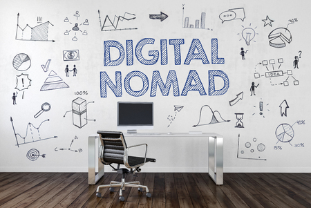 digital background: DIGITAL NOMAD | Desk in an office with symbols. 3d Rendering. Stock Photo