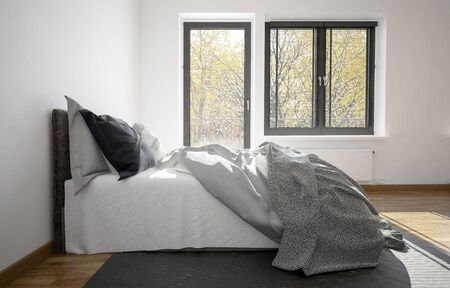 untidy: 3d rendering of an unmade messy bed in a modern bedroom with balcony door and window in a close up side view