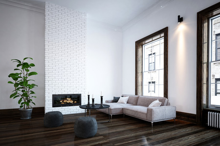 Minimalist living room interior with fire insert in a feature brick wall and a corner sofa and pouffes in front of large windows. 3d Rendering. Stock Photo