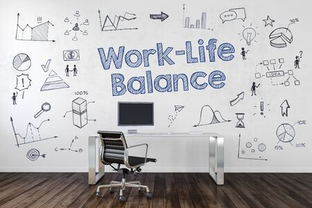 desk work: WORK LIFE BALANCE   Desk in an office with symbols. 3d Rendering. Stock Photo