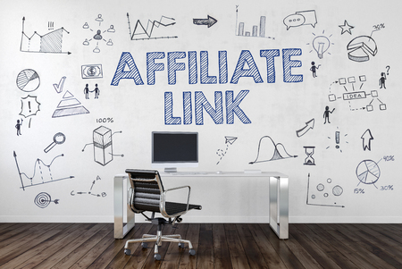 AFFILIATE LINK | Desk in an office with symbols. 3d Rendering. Stock Photo