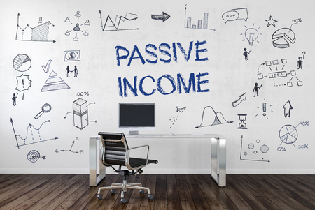 passive earnings: PASSIVE INCOME | Desk in an office with symbols. 3d Rendering.