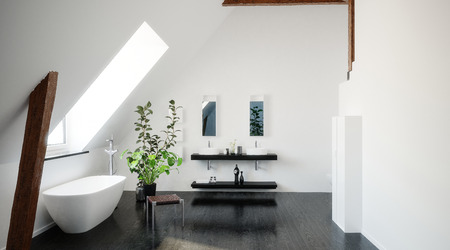 Interior of a modern black and white loft bathroom with freestanding bathtub and a skylight and sloping ceiling and double vanity on the wall. 3d rendering