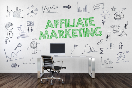 AFFILIATE MARKETING   Desk in an office with symbols. 3d Rendering.